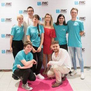 JMC Academy's scholarship recipients with Hit 105's Stav, Abby & Matt