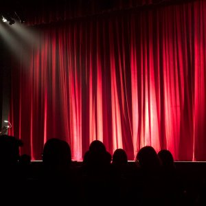 A stage with the curtains drawn